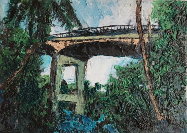 "Honoli'i Bridge, Mauka, 2017, 5 x 7"" by Bailey Ferguson"