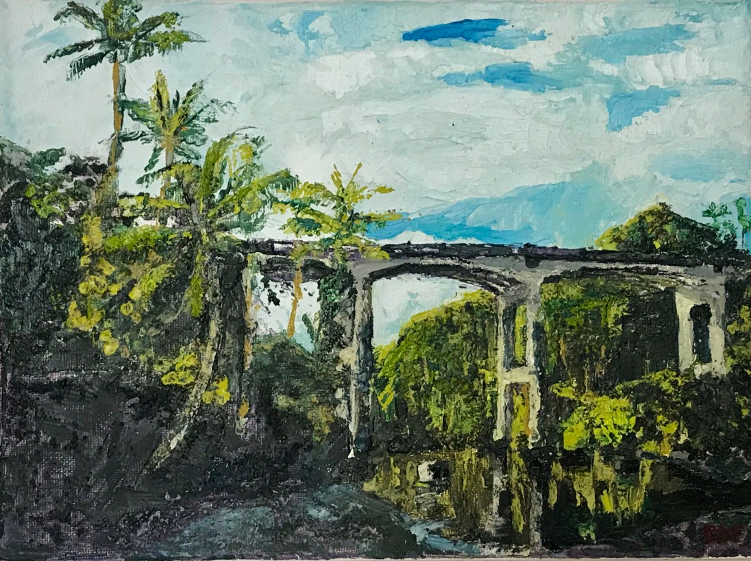 "Bridge Over Honoli'i Stream, 2018, 9 x 12"" by Bailey Ferguson"