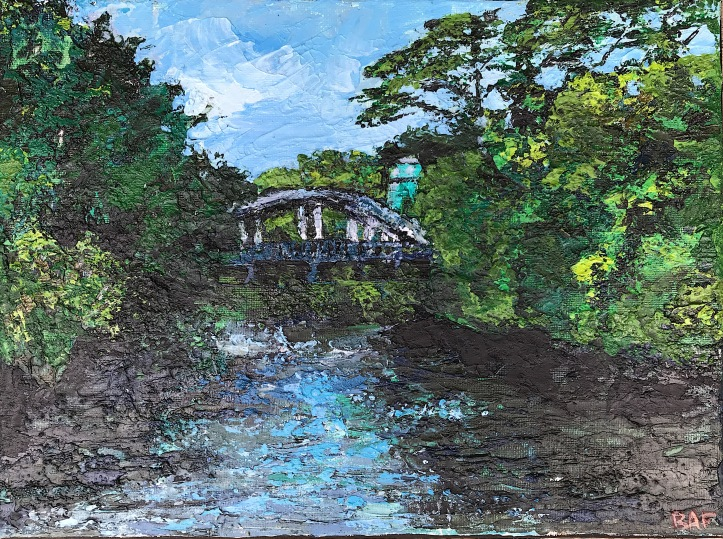 "Wailuku River Bridge, 9x12"", 2018"
