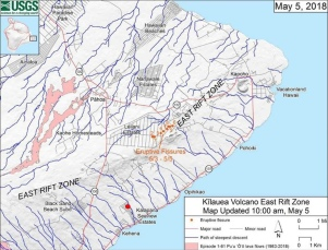 initial fissures of the eruption, I live at the red dot