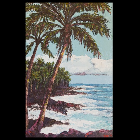 """Palms at Opihikao, 2018, 17x25"""", oil, sand and wax on canvas"""